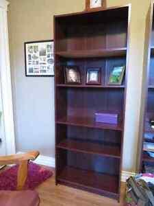 Cherry coloured 5 shelve bookcase