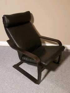 Ikea POÄNG Chair - Black Leather on Black Wood