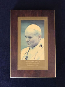 Canadian Papal Visit Pope John Paul II Wall Plaque Sept 1984