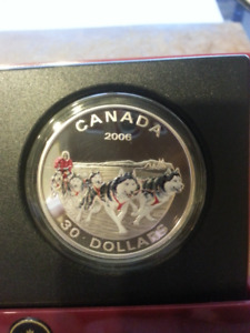 2006 - $30 Dollar Dog Sled Team Silver Coin