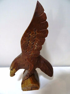 EAGLE hand carved FOLK ART signed beautiful MAN CAVE HUNTER SMAL Cambridge Kitchener Area image 2