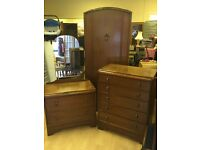 Vintage Bedroom Set, Dressing Table, Chest ofDrawers & Wardrobe