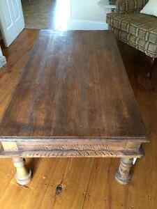 Gorgeous reclaimed wood carved COFFEE TABLE