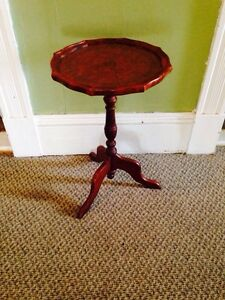 Nice Antique Plant Stand With Leather Table Top