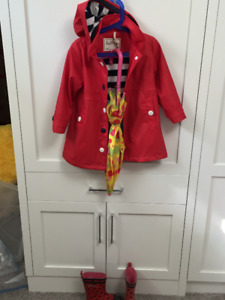 Hatley Red with Navy stripes Splash Jacket- Size 4