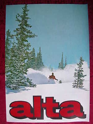 ORIGINAL 1960s ALTA UTAH VINTAGE MOUNTAIN SKI POSTER SNOW SKIER SKIING 60s PRINT