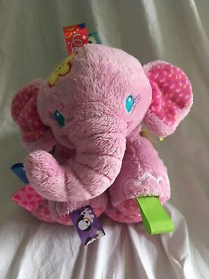 Taggies Tag 'N Play Pals Pink Plush Elephant Rattle Ribbons