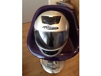 FULL FACE CRASH HELMET, FLIP FRONT, SILVER, SMALL SIZE WITH CARRY BAG LOOKS AS NEW.