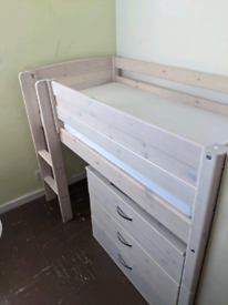 mid sleeper bed 165 cm length with den and chest of drawers