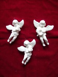 SET 3 WHITE CHRISTMAS ANGELS ORNAMENTS VICTORIAN STYLE