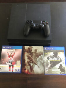 PS4 Hardly Used with 3 Games For Sale