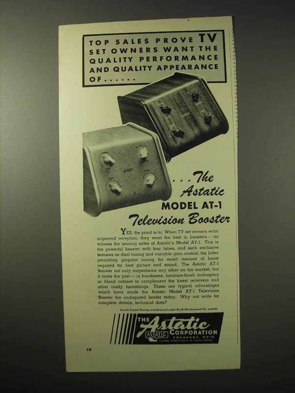 1950 Astatic Model AT-1 Television Booster Ad
