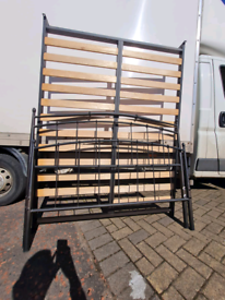 Black metal double bed frame £75