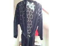 AnmoI shirt 16 and H&M black lace jacket L