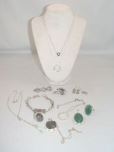 Sterling Silver Jewellery Lot Genuine Stones Stamped