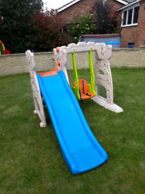 Childrens slide and swing set.