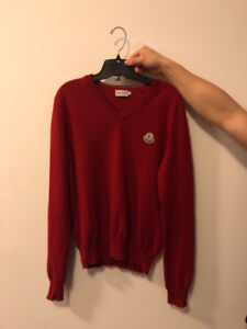Moncler red v neck sweater (size m)