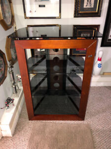 Bello Tinted Glass and Wood Audio Stand
