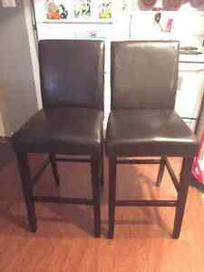 2 Dark Brown/Black Faux Leather Bar Chairs