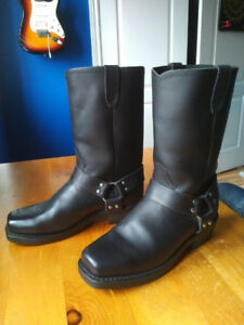 Heavy Leather Black Motorcycle boots
