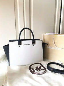 Black / White MICHAEL KORS MK Selma Large Saffiano Leather Bag