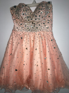 EXQUISITE JEWELED CORAL DRESS