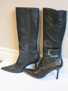 Women's Black Leather Boots With Stiletto Heel