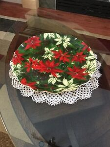 Vintage 'Fab'  Fabric and Resin Christmas Serving Tray