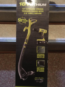 RYOBI 18-Volt ONE+ Lithium-Ion Electric String Trimmer and Drill