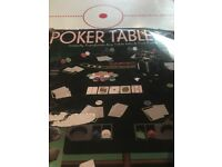 Octagonal Folding Poker Table Top with chip holder and chips