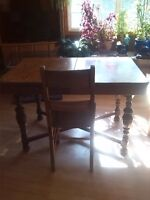 Solid oak, antique table and 4 chairs