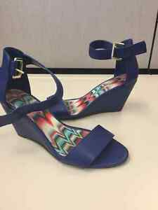 Blue wedge sandles size 9