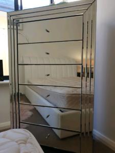 Merlino Furniture Mirrored tallboy 6 drawer