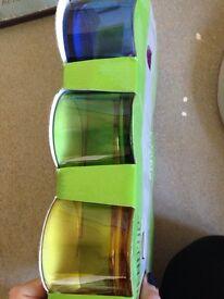 Set of 6 coloured glasses.