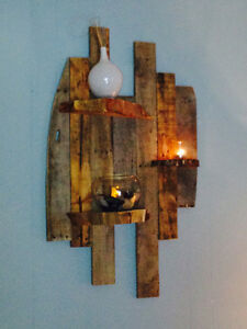 Reclaimed wood with log shelves