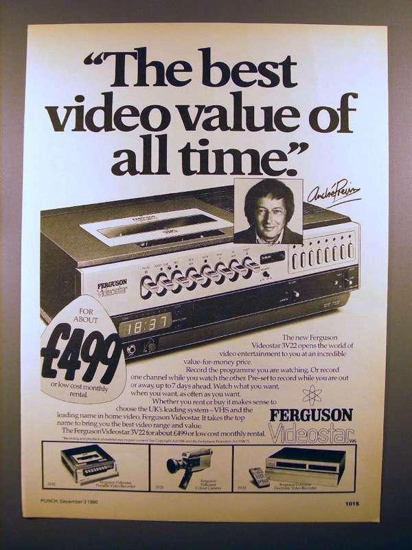 1980 Ferguson Videostar VHS Video Recorder Ad - Andre Previn