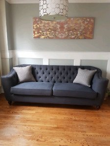 Dark Blue Tufted Sofas Restoration Hardware style