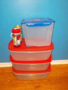 4 big containers PERFECT condition plus 2 BRAND NEW bottles