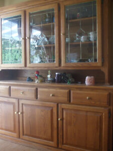 Solid Oak buffet and hutch