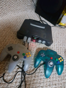 N64 console and 2 controllers