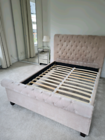 Beautiful Mink Chesterfield Sleigh Bed