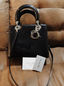 CHRISTIAN DIOR Glazed Calfskin Medium Lady Dior Bag Black