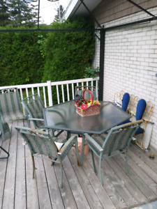 Kit patio 6 chaise table octogone