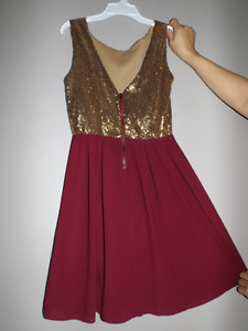 Dress: gold and burgundy