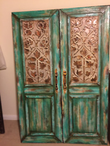 Rustic Turquoise Two Door Paintings / Wall Art
