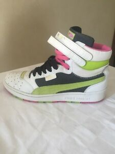 Puma Contact's Sky II high top sneakers in white, pink and green