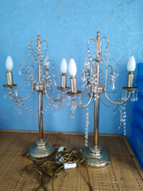 Two solid brass cristal lamps was£55 now £35