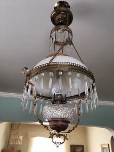 Antique Victorian opal shade chandelier