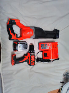 m18 18v milwaukee sawzall and cordless drill with charger + batt