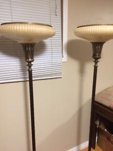 Pair of Antique Torchiere Floor Lamps (1940's)